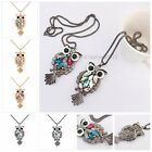 Woman's Fashion Multicolor Diamond  Owl Crystal Pendant Necklaces Sweaters Chain