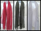 SPOTTED POLKA DOTS CHIFFON STYLE LADIES SOFT FASHION SCARF 150cmx50cm UK SELLER