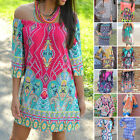 Printed Boho Dress Bohemian Maxi Women Summer Beach Dress Tunic Plus Size Cosy