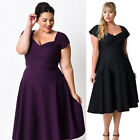 New Womens Short Sleeve Flared Skater Dress Ladies Evening Party Dress Plus Size