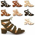 LADIES MID BLOCK HEEL STRAPPY GLADIATOR OPEN TOE LACE UP WOMENS SANDALS SHOES