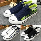 Men Canvas Sneakers Lace Up Casual Skate Low Top Skull Plimsoll Shoes 3 Colors