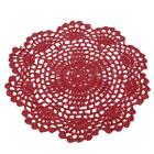 """3 5Pcs Burgundy Hand Crochet Red Doilies Coaster Photography Prop Lot 8"""" Round"""