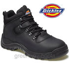 MENS LEATHER DICKIES SAFETY WORK SHOES BLACK WOMENS HIKER BOOTS STEEL TOE CAP 6