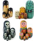 SET OF 5 PAINTED WOODEN NESTING RUSSIAN DOLLS PENGUINS SKELETON
