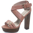 Women's Adjustable Faux Leather Strappy Casual Chunky High Heel Sandal Pump