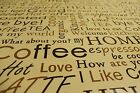Coffee and Tea Scripture PVC Easy Wipe Clean Tablecloth 140cm Wide