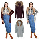 Brave Soul Pippa Womens Oversized Longline Faux Fur Collar Knitted Cardigan