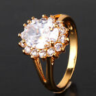 Yellow Gold Filled White Oval Cut LAB Sapphire Vintage Style Sunflower Ring