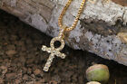 "NEW ICED OUT ANKH CROSS PENDANT &2mm/24"" BOX CHAIN HIP HOP NECKLACE - XQP14"