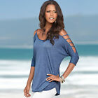 Fashion Women's Loose BOHO Blouse Scoop Neck Casual 3/4th Sleeve T-Shirt Tops