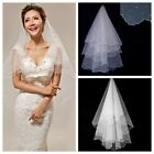 2 Layer Ivory Pencil Scallop Edge Elbow Length Pearl Wedding Bridal Veil 1.5M
