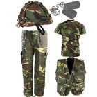 BOYS ARMY OUTFIT KIDS DPM TROUSERS HELMET T-SHIRT VEST FACE PAINT FANCY DRESS