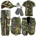 BOYS ARMY OUTFIT KIDS TROUSERS T-SHIRT VEST BAG CAP DOG TAGS FANCY DRESS CAMO