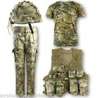 BOYS ARMY OUTFIT CAMO TROUSERS T-SHIRT HELMET ASSAULT VEST SOLDIER KIDS BTP MTP