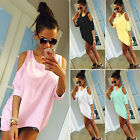 Ladies Cold Shoulder Loose T Shirt Tops Womens 3/4 Sleeve Casual Mini Dress 6-22