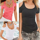 Womens Cold Shoulder Short Sleeve Sexy Blouse Ladies Summer Casual T-Shirt Tops