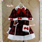 Gothic Lolita Christmas Wool Coat Ladies Red Cape Lovely Bowknot Long Coat Xmas