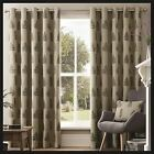 Asher Leaf Print Lined Eyelet Curtains Natural Charcoal Ready Made Pair Ring Top