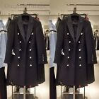 ZARA NEW A/W 2016. BLACK WOOL LONG CROSSOVER COAT WITH LAPELS. REF 7677/744.