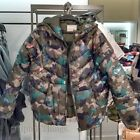 ZARA GIRL NEW F/S 2016. CAMOUFLAGE BIRDS LIGHT HOODED QUILTED JACKET. 5475/700.