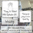 Personalised DIY Wedding Day Silver Milk Chocolate Square Favours Gifts WDLSC13
