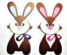 5 Cute Fully Assembled Easter Bunny Die Cuts, Boy Or Girl. Choose Colour & Card!