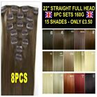 "Straight Hair Extensions 22"" 8PCS Full Head Clip in Brown Blonde Red Feels Human"