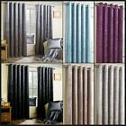 Velma Crushed Faux Velvet Ready Made Curtains Fully Lined Eyelets Metallic Pair