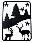 """8 Small """"Deer In The Forest"""" Scene Frame Christmas Die Cuts. Ch. Any Colour/Card"""