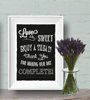 Love Is Sweet Enjoy a treat favour Wedding Chalk Board print Style Vintage aa101