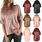 Womens Cut Out Shoulder Collar Ladies Shiny Batwing Turn Up Button Sleeve Top