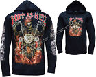 Grim Reaper Biker Hot As Hell Glow In The Dark Zip Zipped Hoodie Hoody Jacket