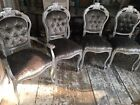 Silver Rococo Dining Chairs, Crushed Velvet with Silver, Velvet Seats, MTO
