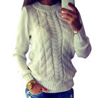 White Smart Cable Twisted Sweater Jumpers Pullover Knitted Tops Cardigan