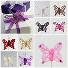 Pack 24 4cm Organza Sheer Glitter Diamante Butterfly on Stem Favour Decoration