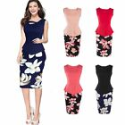 Women Floral Printed Bodycon Pencil Dress Special Office Ladies Formal Dress