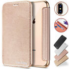 Clear Back Leather Flip Case Silicone Cover Wallet for iPhone X / 8 / 7 / 6S / 7