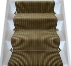 Brintons Carpets Striped Stair Runner Chocolate Limes 8ST/38266 80/20 WOOL