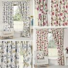 Geneva Curtains Floral Vine Flowers Ready Made Pair Lined Pencil Pleat