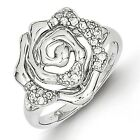 SS Rhodium Plated CZ Rose Ring. Metal Wt- 3.33g