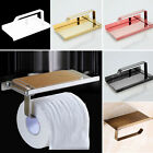 Tissue Roll Holder with Phone Shelf Toilet Paper Holders-Mounted Stainless Steel