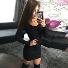 Women Slim Long Sleeve Bandage Bodycon Evening Party Cocktail Short Mini Dress