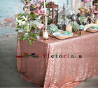 New Rose Gold Rectangle Table, Shimmer Sparkly Overlays Tablecloths for Wedding