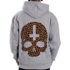 Inverted Cross Skull-leo leopard sign goth Grey Zip Hoodie Hoody Sweatshirt