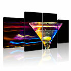 FOOD & DRINK Cocktail Canvas Framed Printed Wall Art 9 ~ 4 Panels