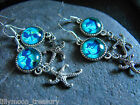 UNIQUE GLASS cabochon EARRING MERMAID & STARFISH wicca goth