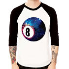 8 Ball-Cosmic Eight 80's Snooker galaxy Baseball t-shirt 3/4 sleeve Raglan Tee