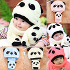 Infant Baby Girl Boy Winter Warm Cute Panda Hat Cap Beanie Scarf For Child Kids