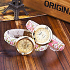 Garden Beauty Floral Printing Watches Women Gold Plated Case Bracelet Watches